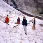 Cyd, Tricia, Markell & Lee hunting for chukkar in the snow